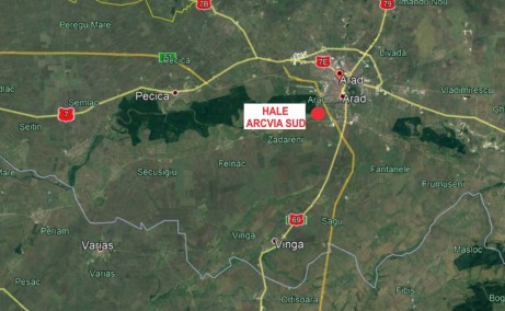 ARCVIA Sud Arad vanzare proprietati industriale Arad sud localizare harta amplasament