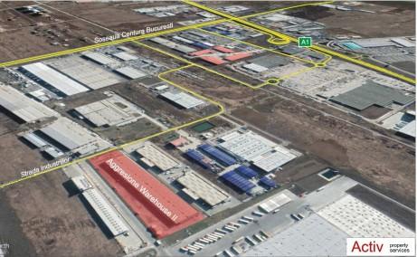 Aggresione Warehouse 2 inchiriere spatiu de depozitare Bucuresti vest zona logistica vedere din satelit