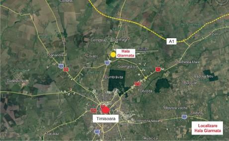 Hala Industriala Giarmata  inchirieri proprietati industriale Timisoara nord-est localizare google