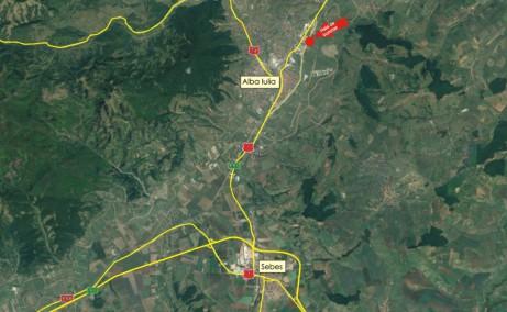 Hala Alba Iulia II hale de inchiriat in estul orasului Alba Iulia, cu acces direct din Sos. de Centura Alba – Sebes, harta zona