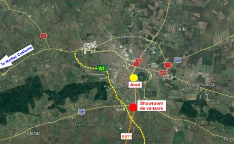 Showroom cu service de vanzare proprietati industriale Arad localizare zona