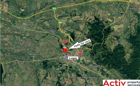 Inchiriere spatii productie si spatii depozitare Lugoj est harta amplasament
