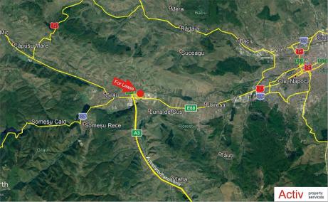 Urbano Cluj Vest  spatii depozitare si productie de inchiriat in Cluj, vest, localizare harta