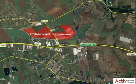 CTPark Bucharest West inchiriere parcuri logistice Bucuresti vest vedere din satelit amplasare