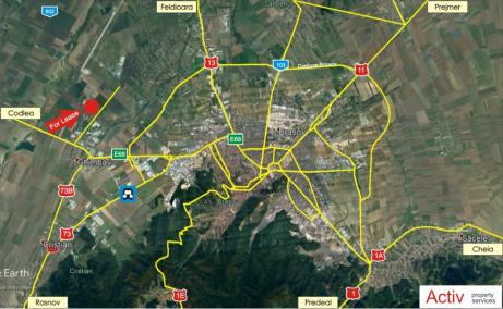 Spatii industriale de inchiriat  Brasov, Industrial Park Brasov - localizare google maps