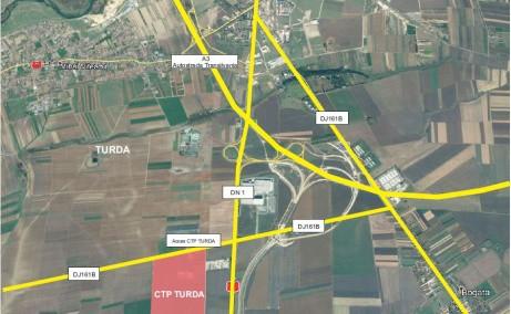 CTP Turda depozit de inchiriat in Turda sud vedere satelit