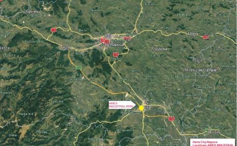 Aries Industrial Park inchiriere spatiu depozitare sau productie in Turda sud localizare harta