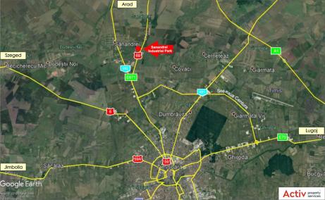 Sânandrei Industrial Parkinchiriere spatiu depozitare si productie Timisoara nord localizare google