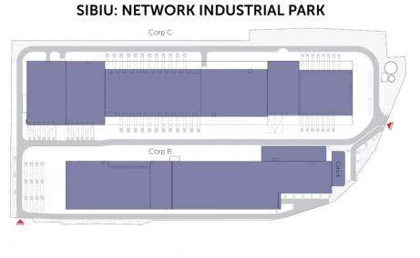 Network Industrial Park inchirieri spatii depozitare sau productie Sibiu est plan hala